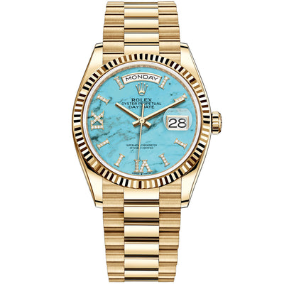 Rolex Day-Date 36mm Presidential 128238 Fluted Bezel Turquoise Diamond Dial