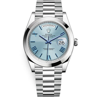 Rolex Day-Date 40 Platinum Presidential 228206 Smooth Bezel Ice Blue Quadrant Motif Dial