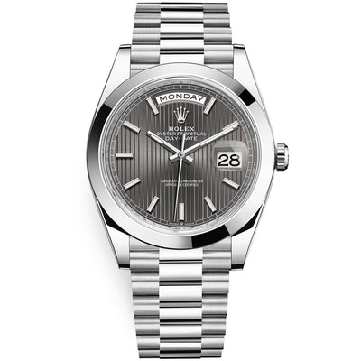 Rolex Day-Date 40 Platinum Presidential 228206 Smooth Bezel Dark Rhodium Stripe Motif Dial