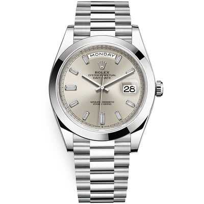 Rolex Day-Date 40 Platinum Presidential 228206 Smooth Bezel Baguette Diamond Silver Dial
