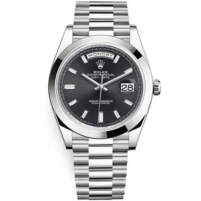 Rolex Day-Date 40 Platinum Presidential 228206 Smooth Bezel Baguette Diamond Black Dial