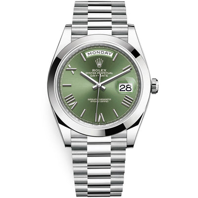 Rolex Day-Date 40 Platinum Presidential 228206 Smooth Bezel Olive Green Dial