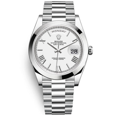 Rolex Day-Date 40 Platinum Presidential 228206 Smooth Bezel White Dial