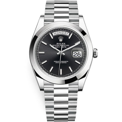 Rolex Day-Date 40 Platinum Presidential 228206 Smooth Bezel Black Dial