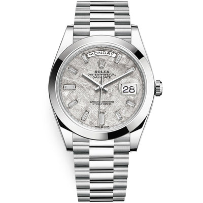 Rolex Day-Date 40 Platinum Presidential 228206 Smooth Bezel Baguette Diamond Meteorite Dial