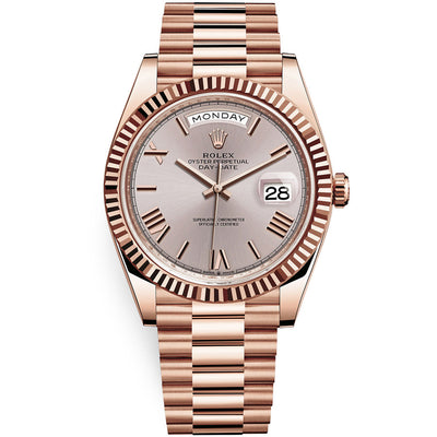 Rolex Day-Date 40 Presidential 228235 Fluted Bezel Sundust Dial