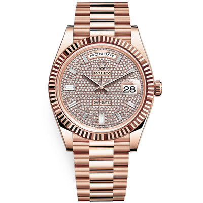 Rolex Day-Date 40 Presidential 228235 Fluted Bezel Baguette / Pave Diamond Dial