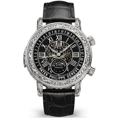 Patek Philippe Grand Complications Sky Moon Tourbillon Perpetual Calendar Hand Engraved 44mm 6002G Black Enamel Dial