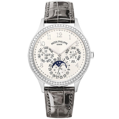 Patek Philippe Ultra-Thin Grand Complications Perpetual Calendar Moon Phases 35mm 7140G Silver Toned