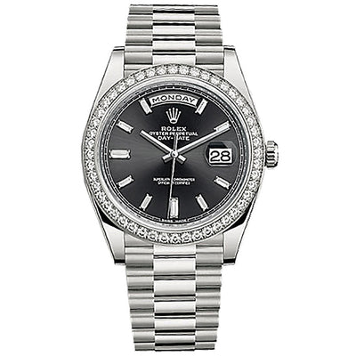 Rolex Day-Date 40 Presidential 228349 Diamond Bezel Baguette Diamond Black Dial