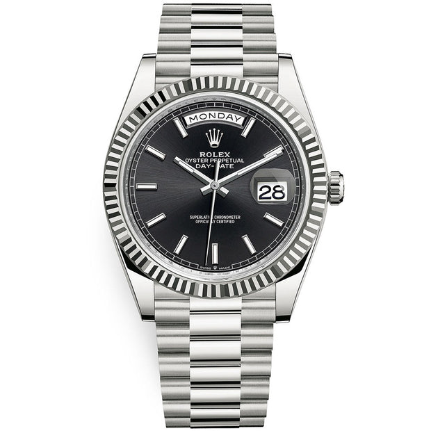 Rolex Day-Date 40 Presidential 228239 Fluted Bezel Black Dial