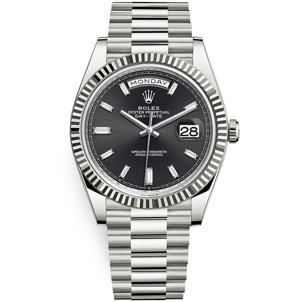 Rolex Day-Date 40 Presidential 228239 Fluted Bezel Baguette Diamond Black Dial