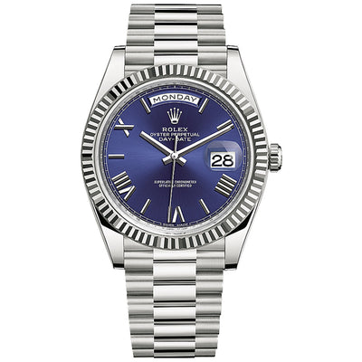 Rolex Day-Date 40 Presidential 228239 Fluted Bezel Blue Dial