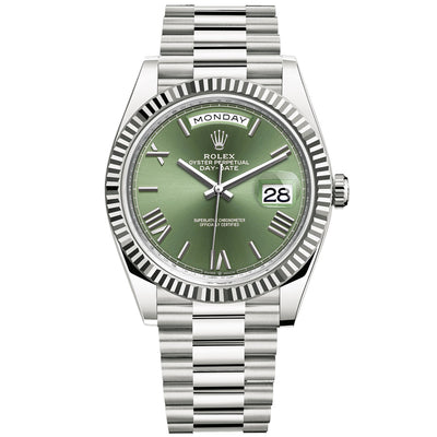 Rolex Day-Date 40 Presidential 228239 Fluted Bezel Olive Green Dial