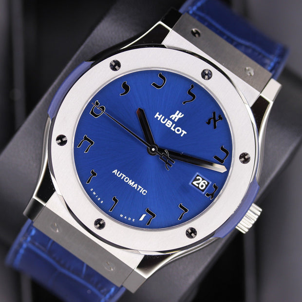 Hublot Limited Edition Classic Fusion Hebrew 45mm 511.NX.7170.LR.LEC17 Blue Dial Pre-Owned