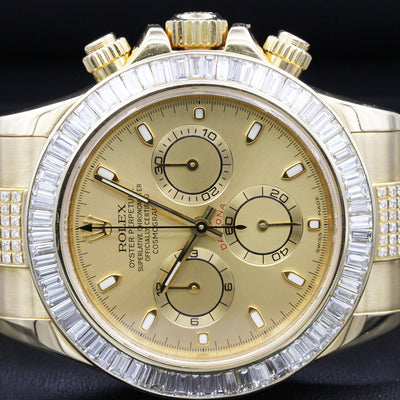 Rolex Daytona 40mm 116508 Custom Baguette Diamond Bezel / Diamond Bracelet Champagne Dial Pre-Owned