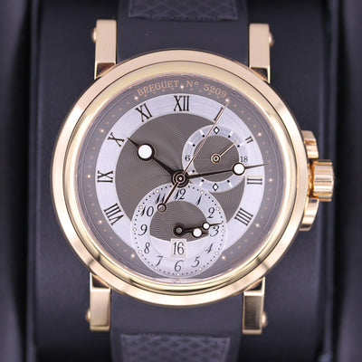 Breguet Marine GMT Dual Time 42mm 5857BR Silver/Black Rhodium Dial Pre-Owned