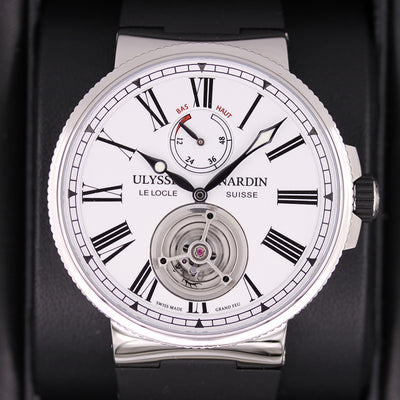 Ulysse Nardin Marine Tourbillon 43mm 1283-181-3/E0 White Dial Pre-Owned