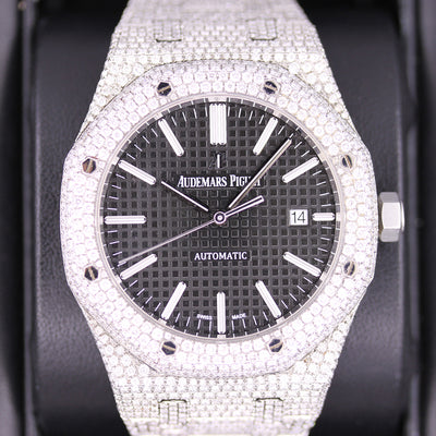 Audemars Piguet Royal Oak 41mm 15400ST Black Dial Custom Diamond Setting Pre-Owned