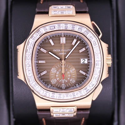 Patek Philippe Nautilus Chronograph 40mm 5980R Custom Diamond Baguette Setting Brown Dial Pre-Owned