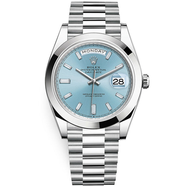 Rolex Day-Date 40 Platinum Presidential 228206 Smooth Bezel Baguette Diamond Ice Blue Dial