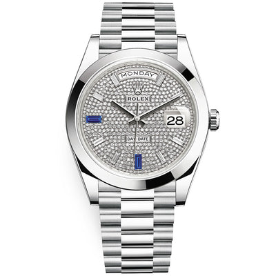 Rolex Day-Date 40 Platinum Presidential 228206 Smooth Bezel Paved / Baguette Diamond Dial