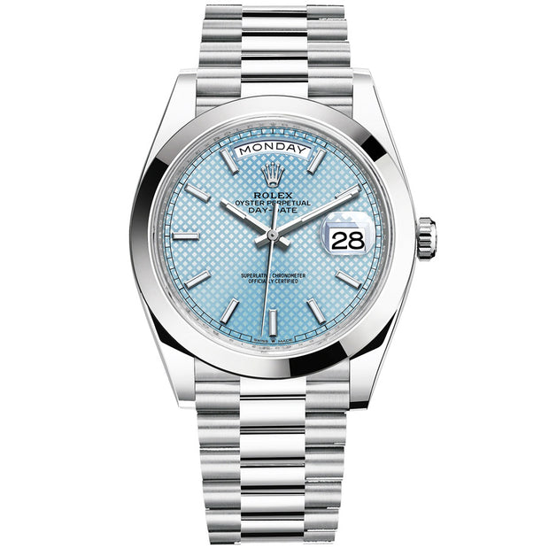Rolex Day-Date 40 Platinum Presidential 228206 Smooth Bezel Ice Blue Diagonal Motif Dial