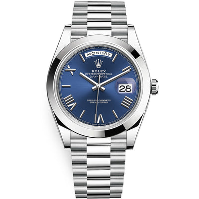 Rolex Day-Date 40 Platinum Presidential 228206 Smooth Bezel Blue Dial