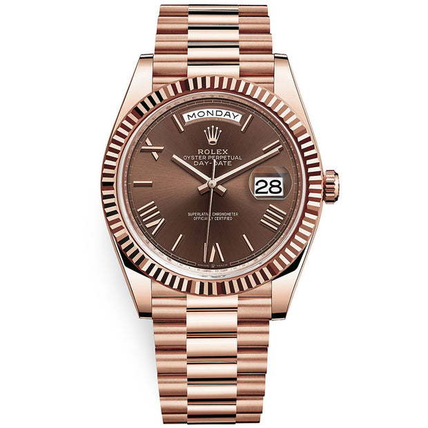 Rolex Day-Date 40 Presidential 228235 Fluted Bezel Chocolate Dial