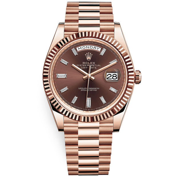 Rolex Day-Date 40 Presidential 228235 Fluted Bezel Baguette Diamond Chocolate Dial