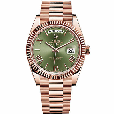 Rolex Day-Date 40 Presidential 228235 Fluted Bezel Olive Green Dial