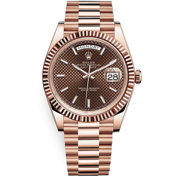 Rolex Day-Date 40 Presidential 228235 Fluted Bezel Chocolate Diagonal Motif Dial
