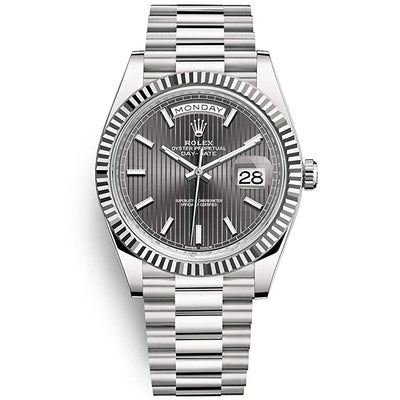 Rolex Day-Date 40 Presidential 228239 Fluted Bezel Dark Rhodium Stripe Motif Dial