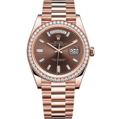 Rolex Day-Date 40 Presidential 228345 Diamond Bezel Baguette Chocolate Dial