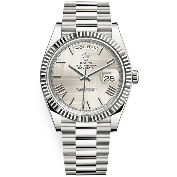 Rolex Day-Date 40 Presidential 228239 Fluted Bezel Silver Quadrant Motif Dial