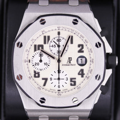 "Audemars Piguet Royal Oak Offshore ""Safari"" Chronograph 42mm 26170ST White Dial Pre-Owned - First Class Timepieces"