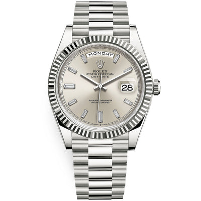 Rolex Day-Date 40 Presidential 228239 Fluted Bezel Baguette Diamond Silver Dial