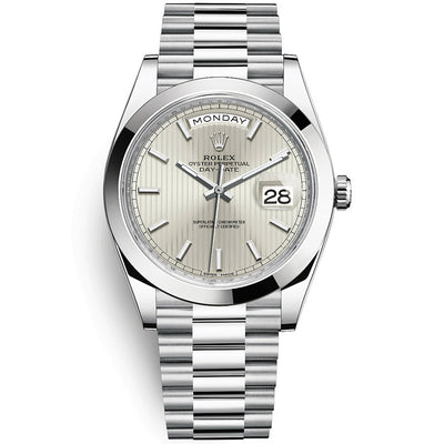 Rolex Day-Date 40 Platinum Presidential 228206 Smooth Bezel Silver Stripe Motif Dial