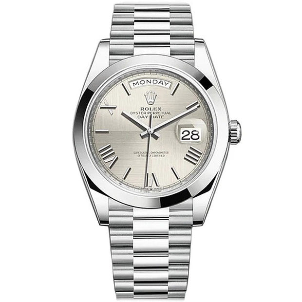 Rolex Day-Date 40 Platinum Presidential 228206 Smooth Bezel Silver Quadrant Motif Dial