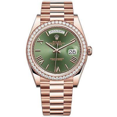 Rolex Day-Date 40 Presidential 228345 Diamond Bezel Olive Green Dial