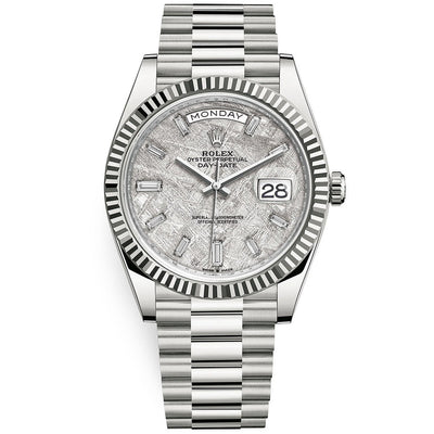 Rolex Day-Date 40 Presidential 228239 Fluted Bezel Baguette Diamond Meteorite Dial