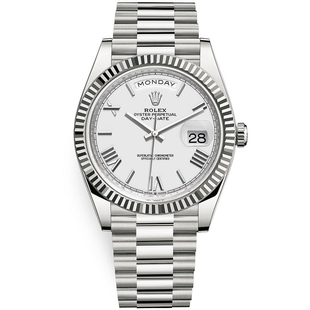 Rolex Day-Date 40 Presidential 228239 Fluted Bezel White Dial