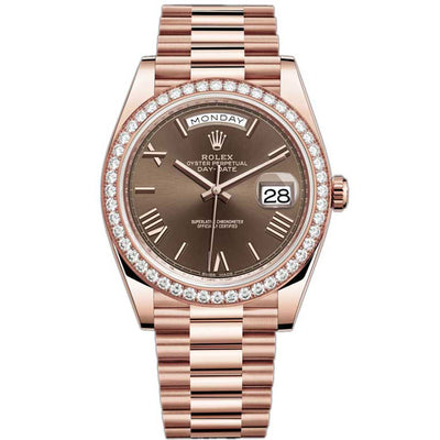 Rolex Day-Date 40 Presidential 228345 Diamond Bezel Chocolate Dial
