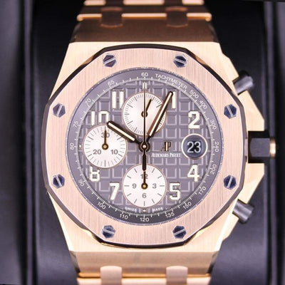 "Audemars Piguet ""Brick"" Royal Oak Offshore Chronograph 42mm 26470OR Grey Dial Pre-Owned-First Class Timepieces"