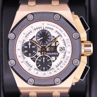 "Audemars Piguet Limited Edition Royal Oak Offshore ""Rubens Barrichello II"" 26078RO White Dial Pre-Owned-First Class Timepieces"