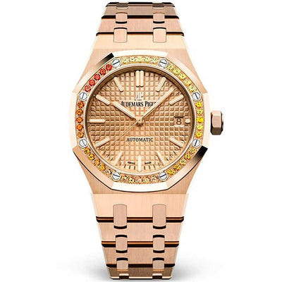 Audemars Piguet Royal Oak 37mm 15451OR Orange Sapphire Bezel Pink Gold Toned Dial-First Class Timepieces