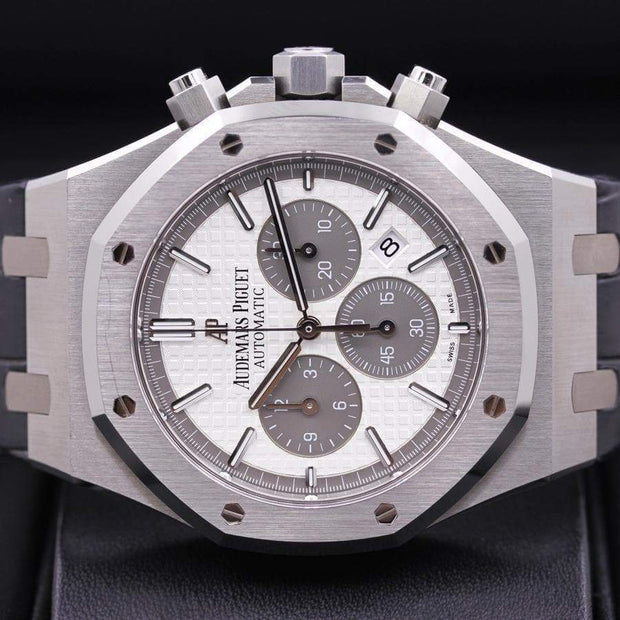 Audemars Piguet Royal Oak Chronograph Limited Edition 2015 QEII 41mm 26327TI White Dial Pre-Owned-First Class Timepieces