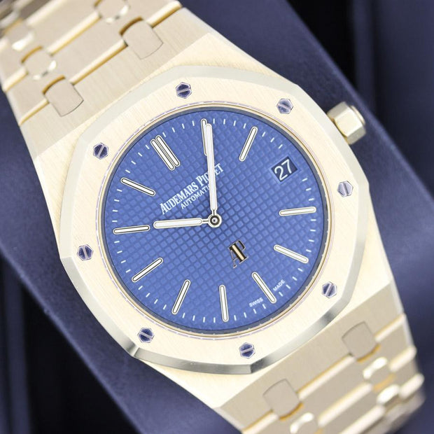 "Audemars Piguet Royal Oak ""Jumbo"" Extra-Thin 39mm 15202BA Blue Dial Pre-Owned-First Class Timepieces"