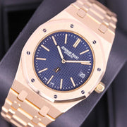 "Audemars Piguet Royal Oak ""Jumbo"" Extra-Thin 39mm 15202OR Blue Dial Pre-Owned-First Class Timepieces"