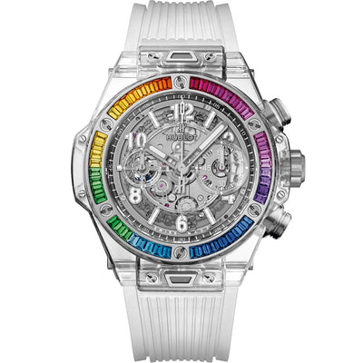 Hublot Limited Edition Big Bang Unico Sapphire Rainbow 42mm 441.JX.4802.RT.4099 Overworked Dial